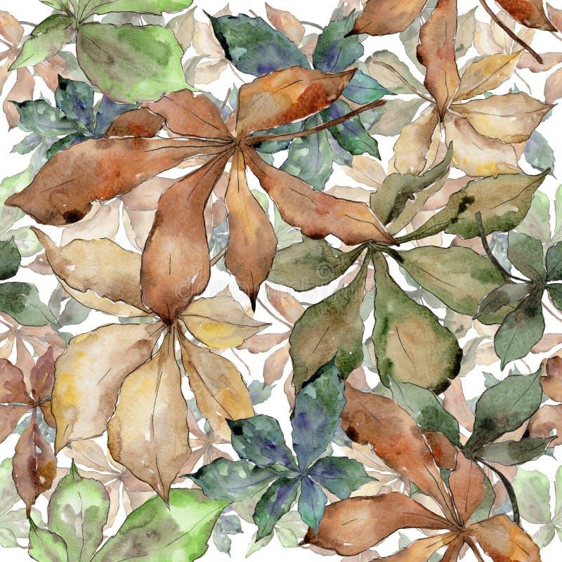 Hojas de la castaña del otoño Follaje floral del jardín botánico de la planta de la hoja Modelo inconsútil del fondo ilustración del vector