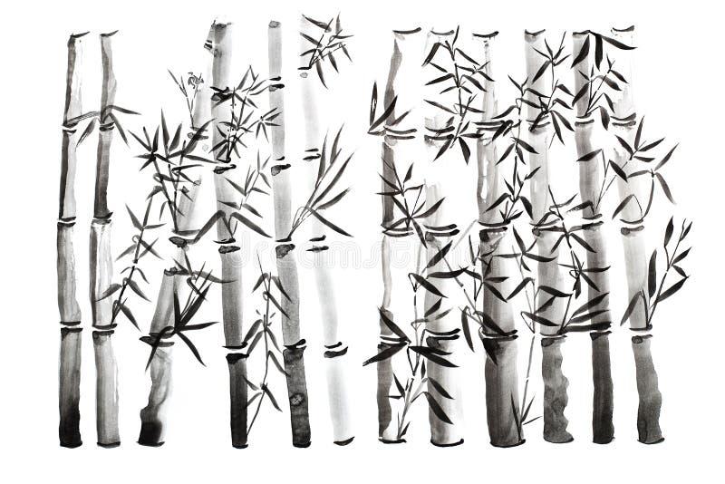 Hojas de la mano y sistema de bambú exhaustos de la rama, pintura de la tinta Pintura caligráfica seca tradicional del cepillo Ai fotografía de archivo