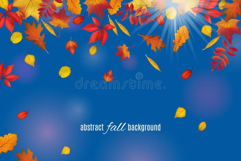 Hojas de otoño aisladas en fondo claro de cielo azul stock de ilustración