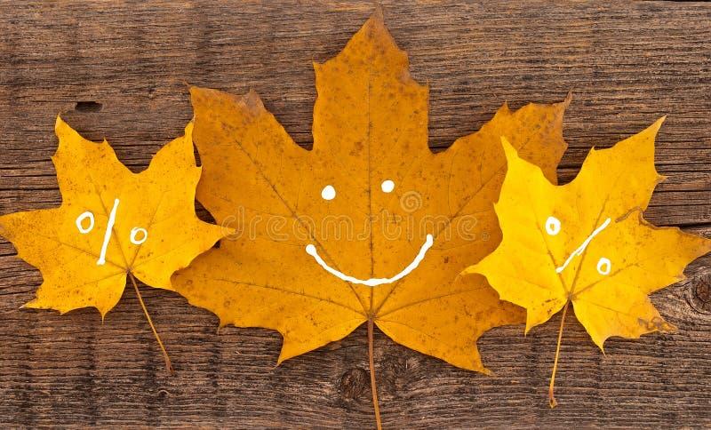 Hojas de otoño con sonrisa en fondo de madera rústico Sho del otoño imagenes de archivo