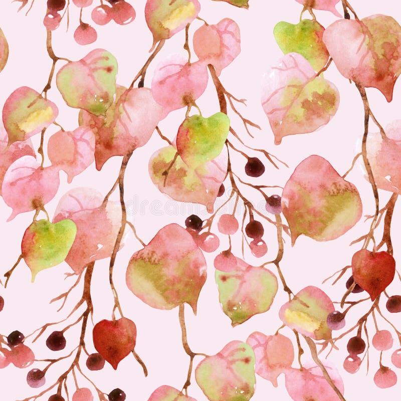 Hojas de otoño de la acuarela, ramas y modelo inconsútil de la baya stock de ilustración