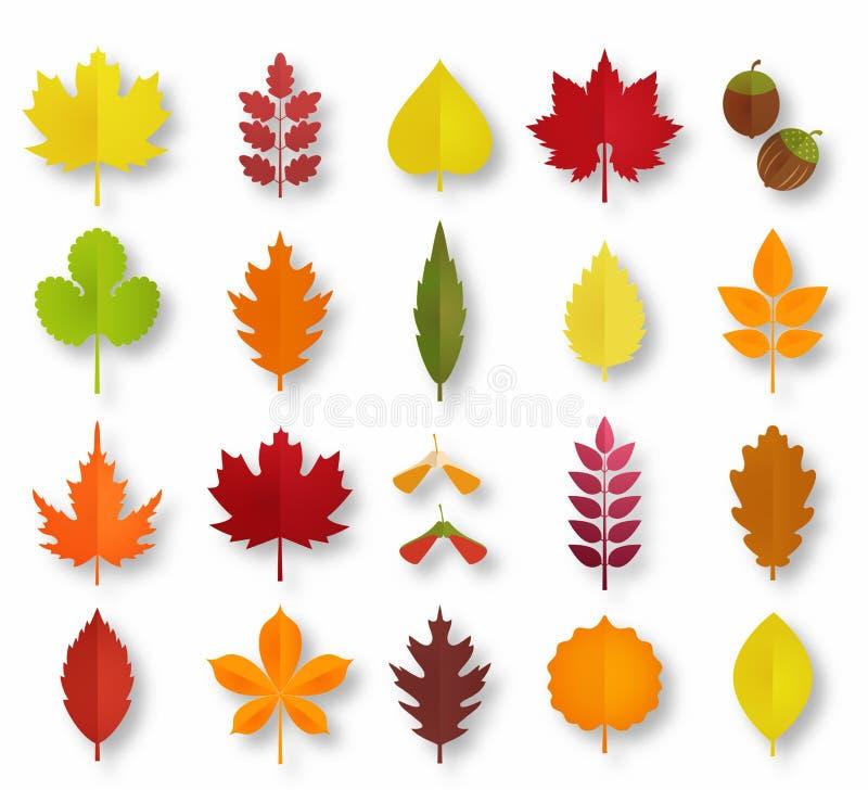 Hojas de otoño del corte del papel fijadas La caída deja la colección de papel colorida Ejemplo de papel del estilo del arte del  ilustración del vector