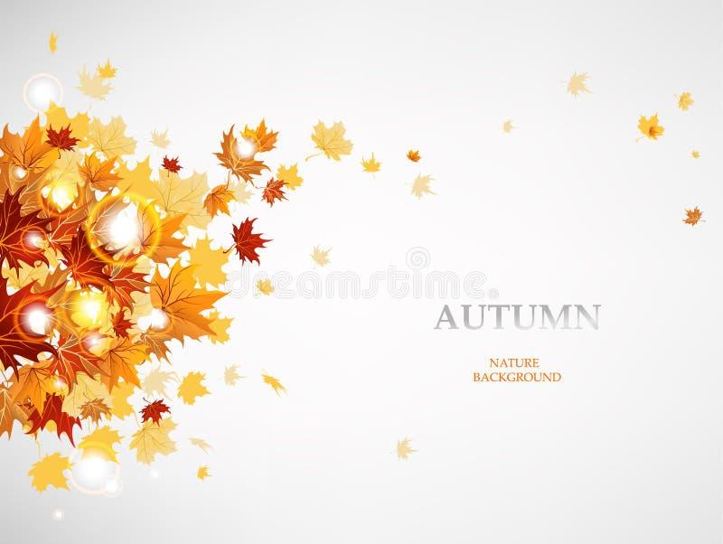 Hojas de otoño del vuelo ilustración del vector