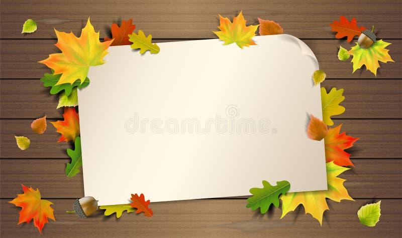 Hojas de otoño en el fondo de madera con el vector de papel de la nota libre illustration