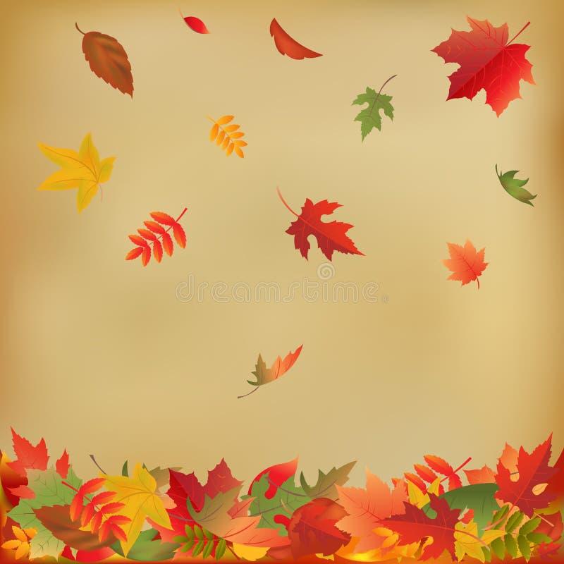 Hojas de otoño en el papel viejo libre illustration
