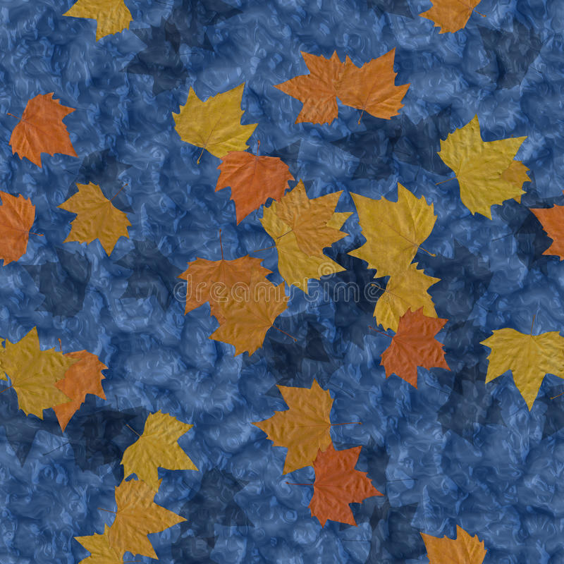 Hojas de otoño en fondo generado inconsútil de la textura del agua stock de ilustración