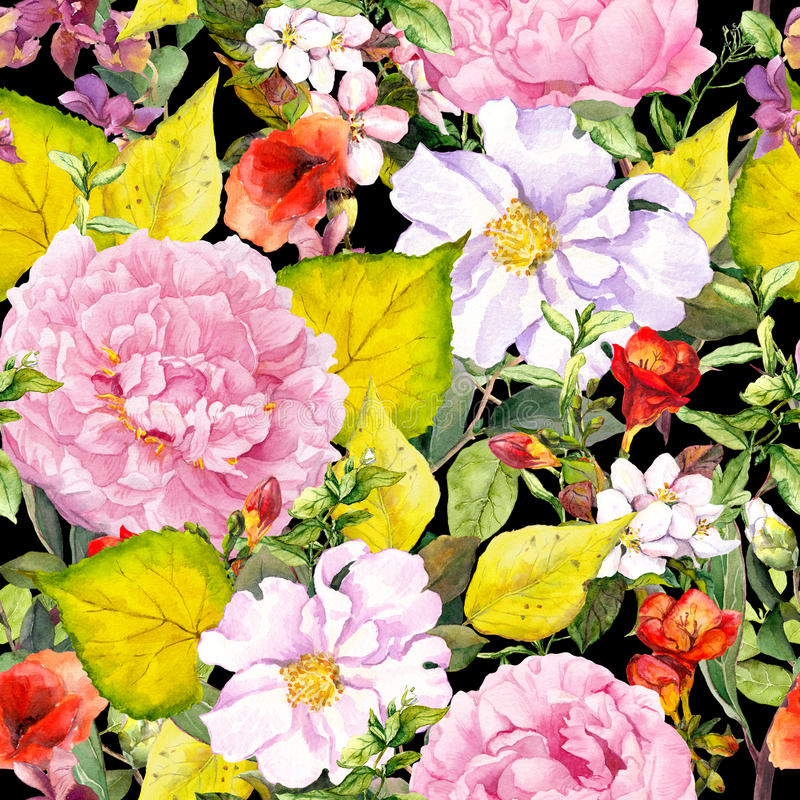 Hojas de otoño, flores, mariposas Ditsy que repite el estampado de flores watercolor ilustración del vector