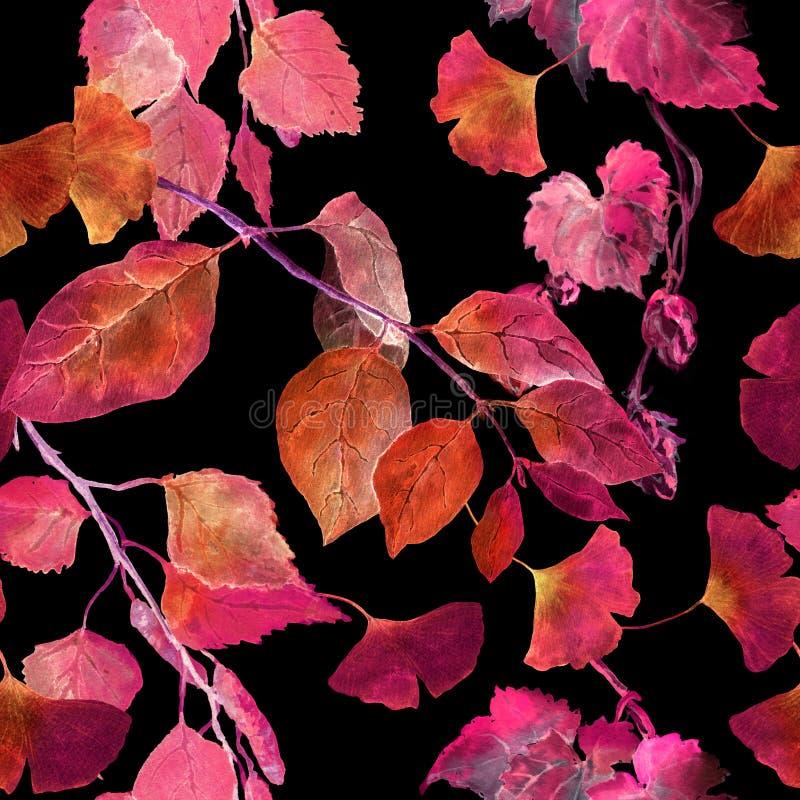 Hojas de otoño rojas, fondo negro Modelo inconsútil del otoño del contraste watercolor ilustración del vector