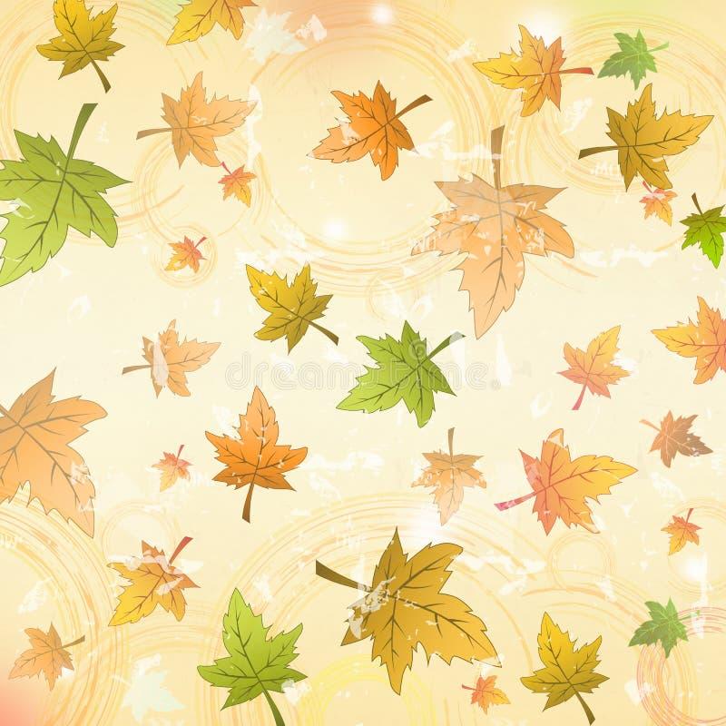 Hojas de otoño sobre viejo fondo retro de papel libre illustration
