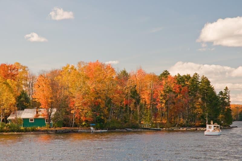 Hojas de otoño y cabina del lago fotografía de archivo