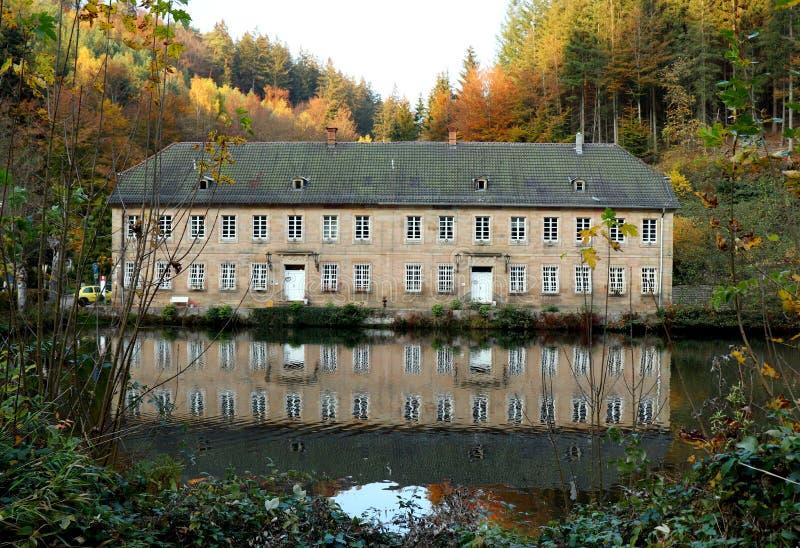 Hojas de otoño y un edificio reflejado en agua imagenes de archivo