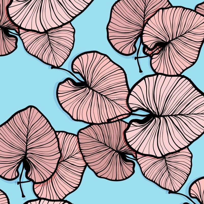 Hojas de palma tropicales del vector Decoración de moda del verano Decoración tribal de la playa moderna de Hawaii Impresión cont libre illustration