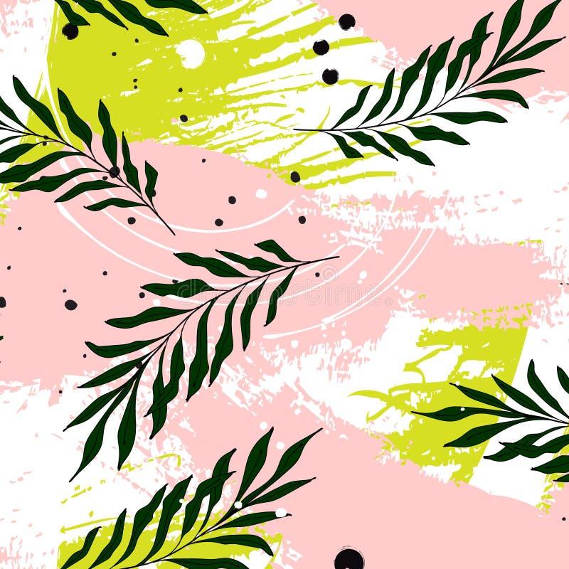 Hojas de palma tropicales del vector en fondo verde rosado Modelo moderno de la hoja de la selva Hawaiian botánico de la playa de libre illustration