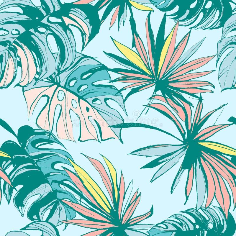 Hojas de palma tropicales dibujadas mano inconsútil de la tinta del modelo Ilustración del vector stock de ilustración