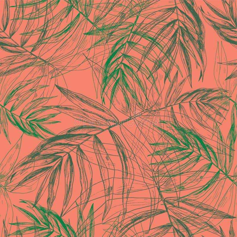 Hojas de palma tropicales verdes, estampado de flores inconsútil de la hoja de la selva en fondo anaranjado en colores pastel del stock de ilustración