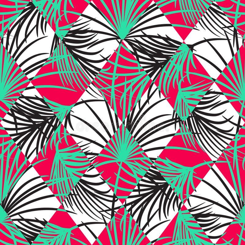 Hojas de palma verdes y rojas y modelo inconsútil del vector de los rombos del arlequín stock de ilustración