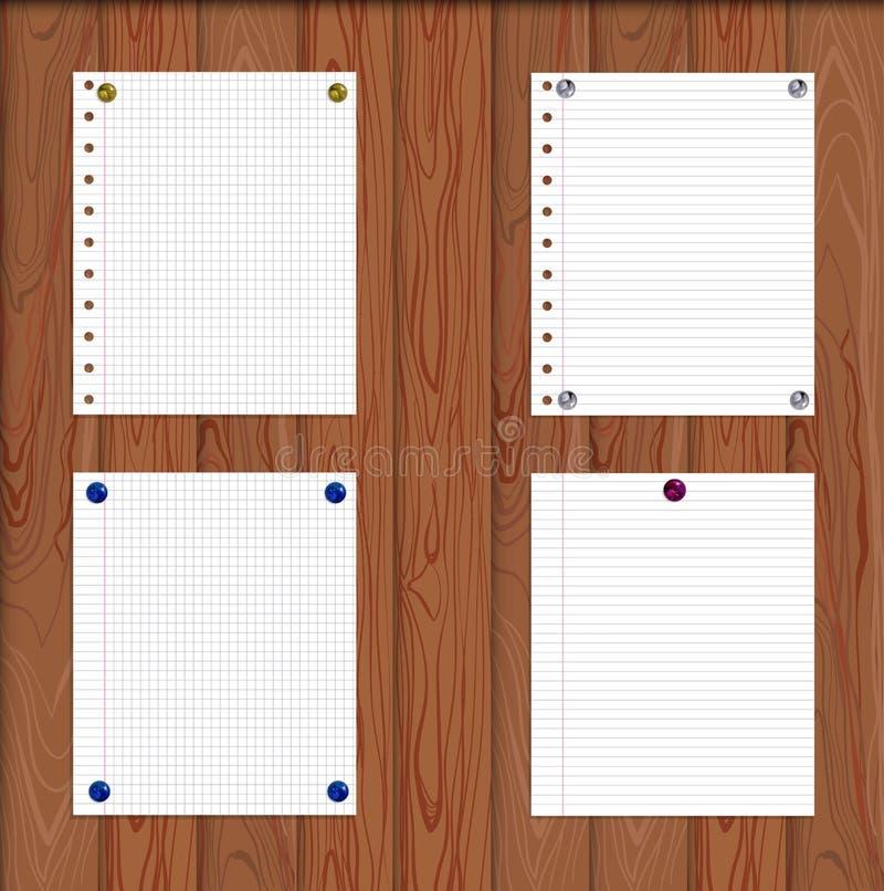 Hojas de papel del vector atadas por Pin Buttons a la pared de madera, textura de madera de Brown stock de ilustración