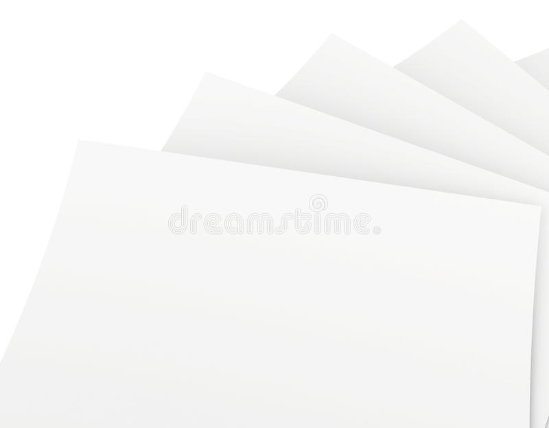 Hojas de papel en blanco aisladas en el fondo blanco ilustración del vector