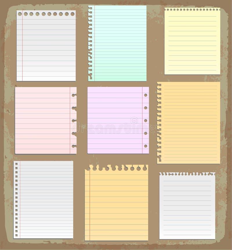 Hojas de papel, papel alineado y papel de nota ilustración del vector