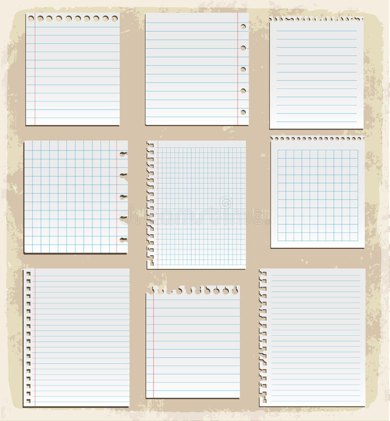 Hojas de papel, papel alineado y papel de nota libre illustration