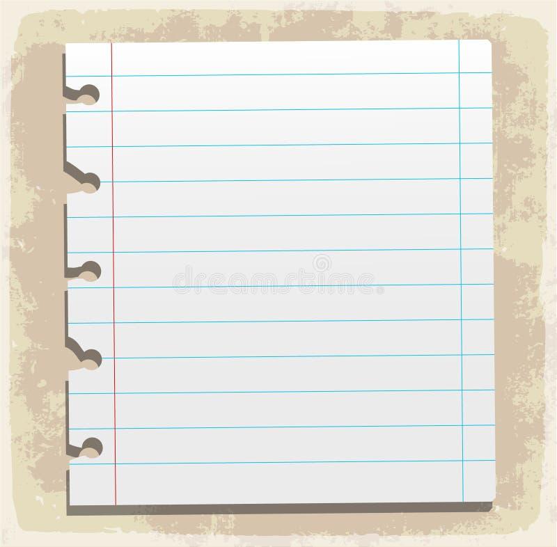 Hojas de papel, papel alineado y papel de nota stock de ilustración