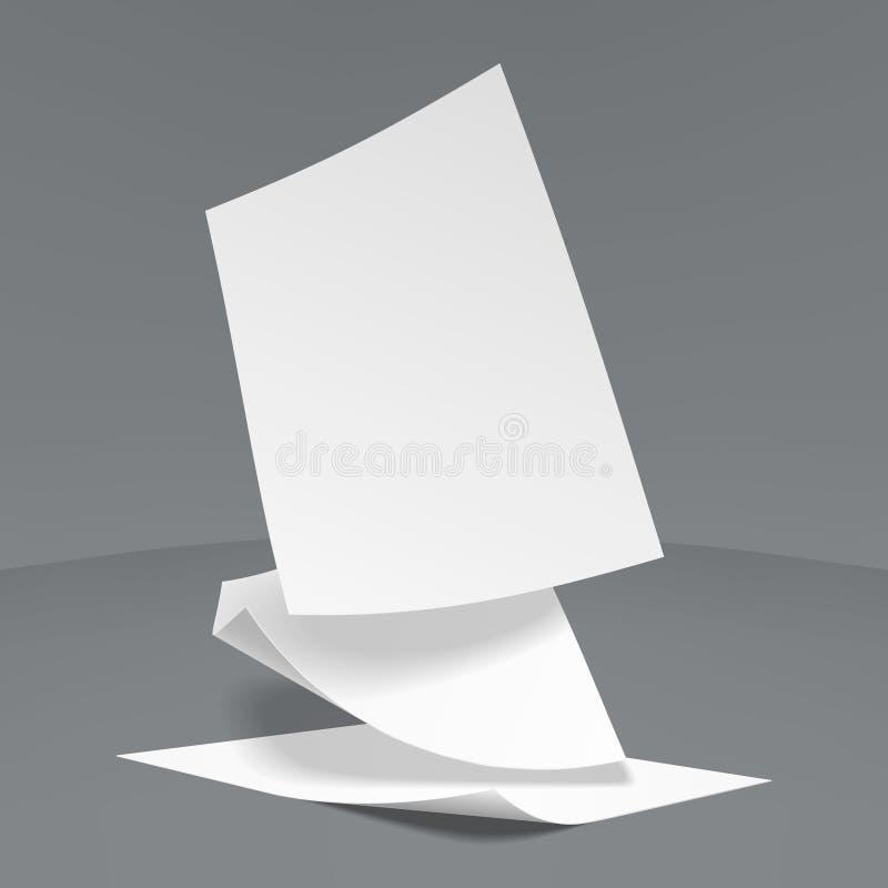 Hojas de papel que caen abajo, ejemplo del vector ilustración del vector