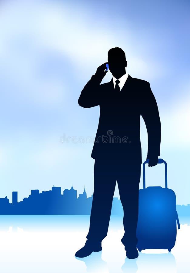 Hojas de ruta (traveler) de asunto con horizonte de la ciudad ilustración del vector