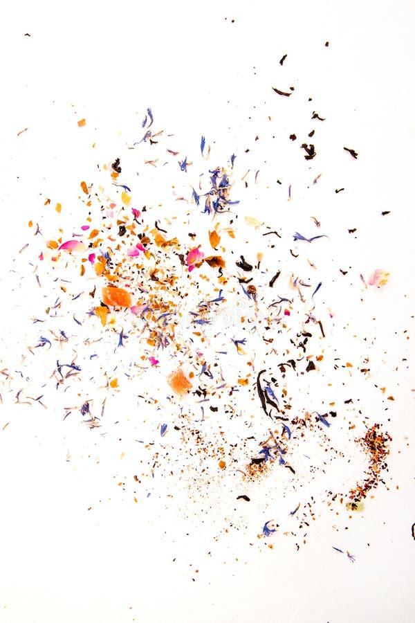 Hojas de té del fondo, diversas de té secado foto de archivo libre de regalías