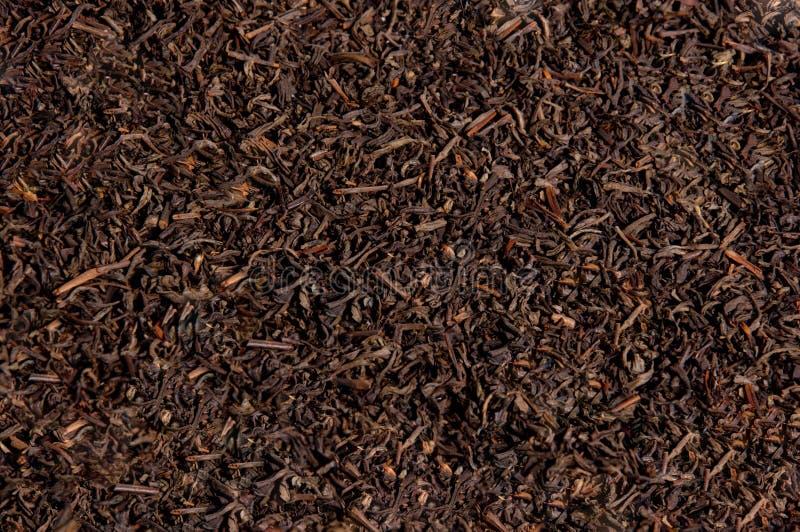 Hojas de té secadas flojas del té negro, textura foto de archivo libre de regalías