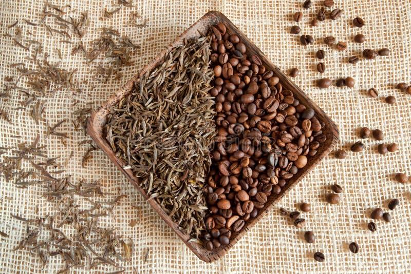 Hojas de té secadas y granos de café asados: theine contra el cafeína imágenes de archivo libres de regalías