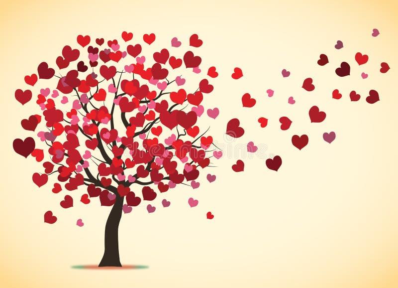Hojas de vuelo del árbol de amor libre illustration