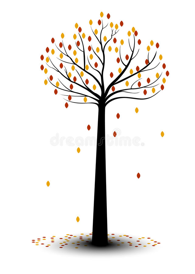 Hojas decorativas de Autumn Tree Silhouette With Brown stock de ilustración