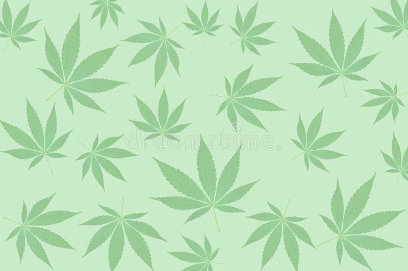 Hojas del cáñamo en modelo verde del fondo stock de ilustración