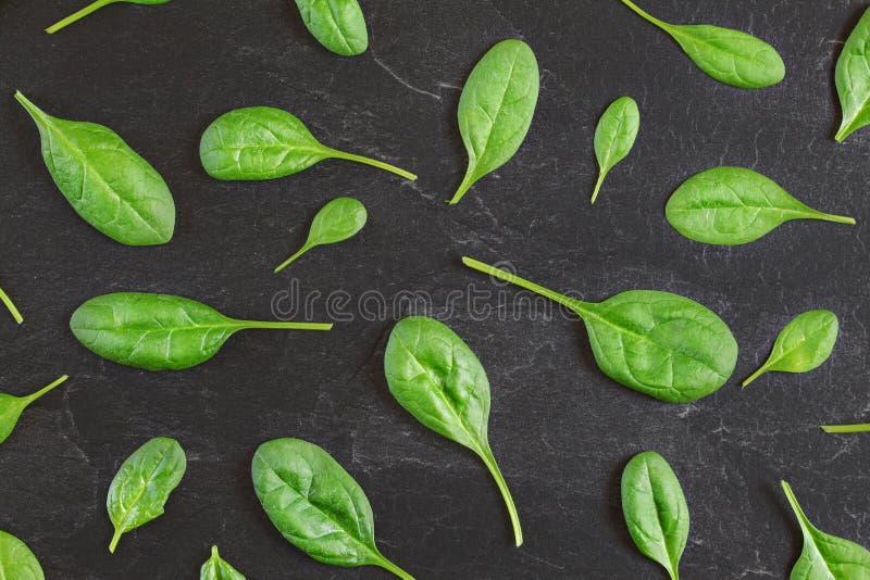 Hojas del locusta del Valerianella de la ensalada de maíz dispuestas en modelo sobre pizarra negra como el tablero - tiro de arri fotos de archivo