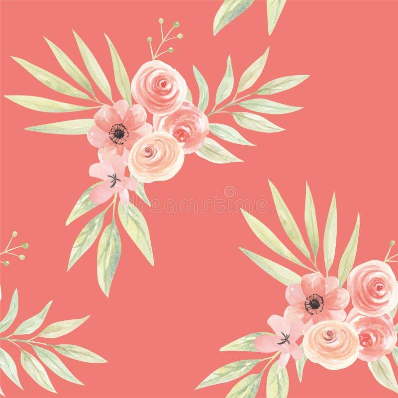 Hojas del modelo de Coral Green Peach Tropical Seamless de las flores de la acuarela stock de ilustración