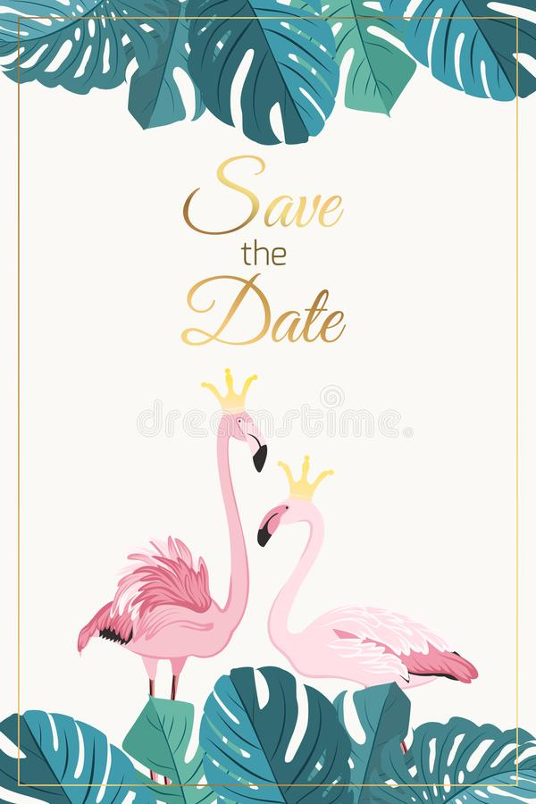 Hojas del monstera de los pares del flamenco de la invitación de la boda stock de ilustración