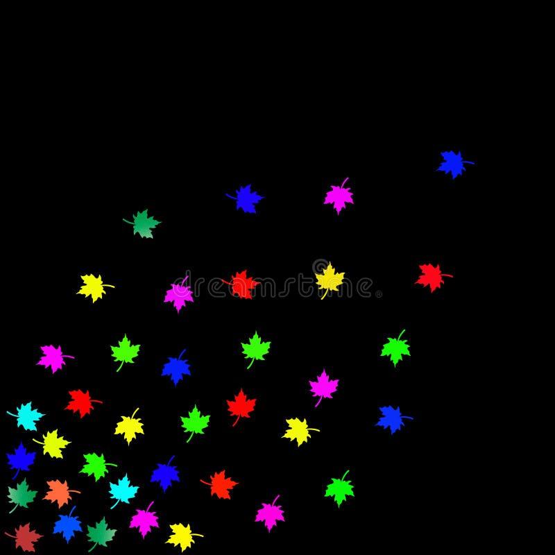 Hojas del multicolor con el fondo negro stock de ilustración