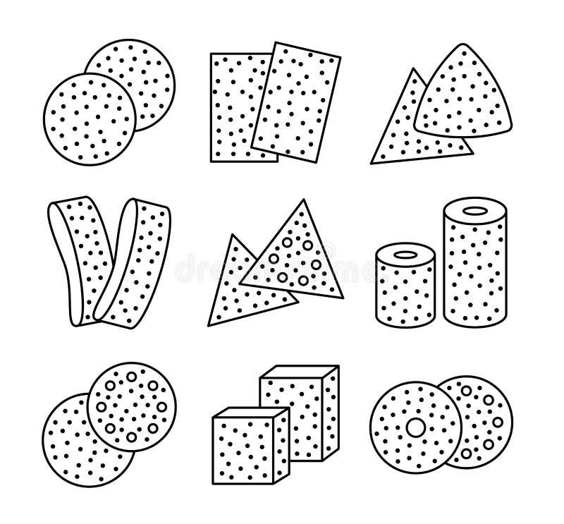 Hojas del papel de lija, discos, rollos, triángulos Ejemplo negro y blanco del vector de enarenar el esmeril Línea sistema del ic libre illustration