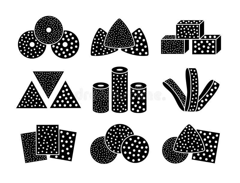 Hojas del papel de lija, discos, rollos, triángulos Ejemplo negro y blanco del vector de enarenar el esmeril Línea sistema del ic stock de ilustración