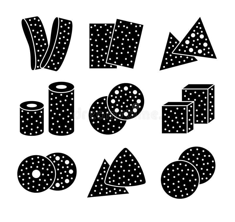 Hojas del papel de lija, discos, rollos, triángulos Ejemplo negro y blanco del vector de enarenar el esmeril Sistema plano del ic ilustración del vector