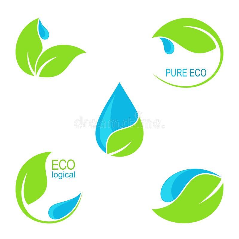 Hojas del verde e iconos de las gotitas de agua stock de ilustración