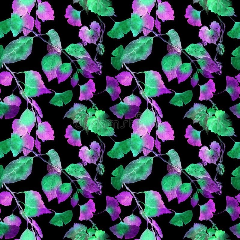 Hojas del verde en la luz de neón Fondo inconsútil para la ciencia de la biología watercolor imagenes de archivo