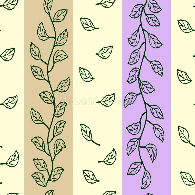 Hojas del verde en rayas coloridas ilustración del vector