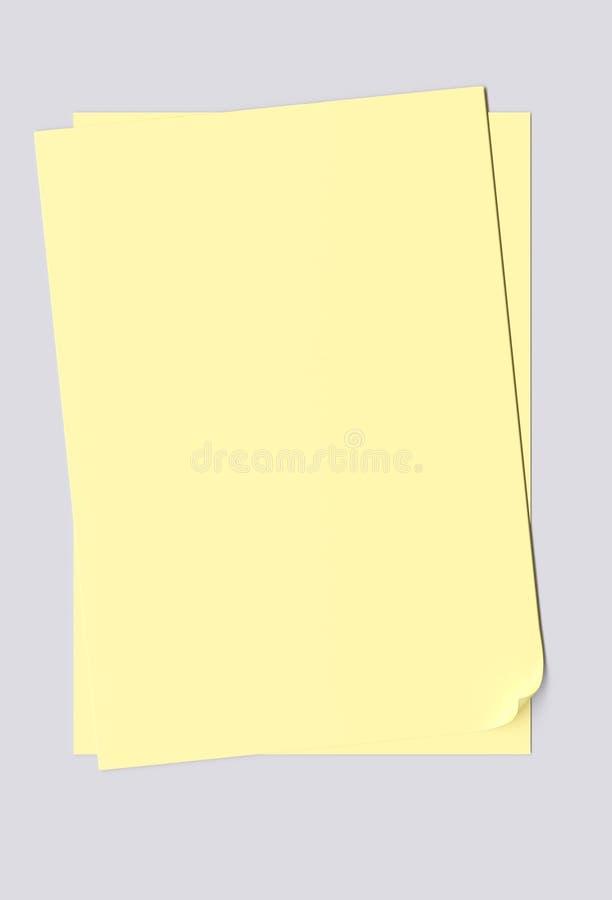 Hojas en blanco del papel amarillo ilustración del vector