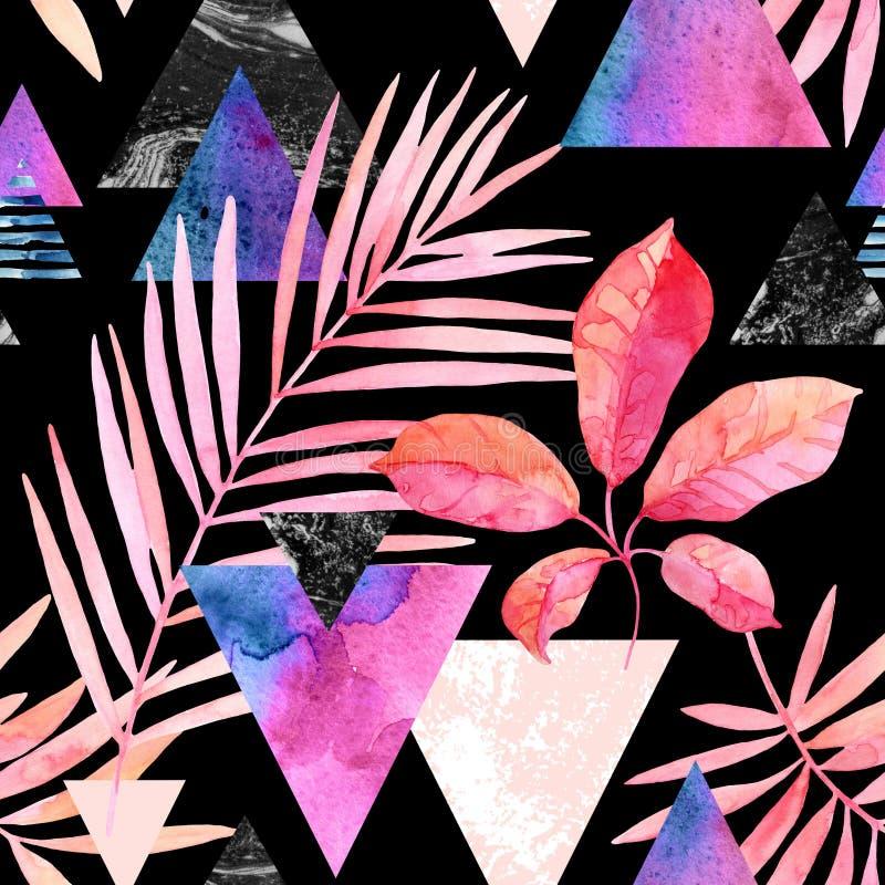 Hojas exóticas de la acuarela, texturas del grunge, modelo inconsútil de los garabatos en colores del delirio ilustración del vector