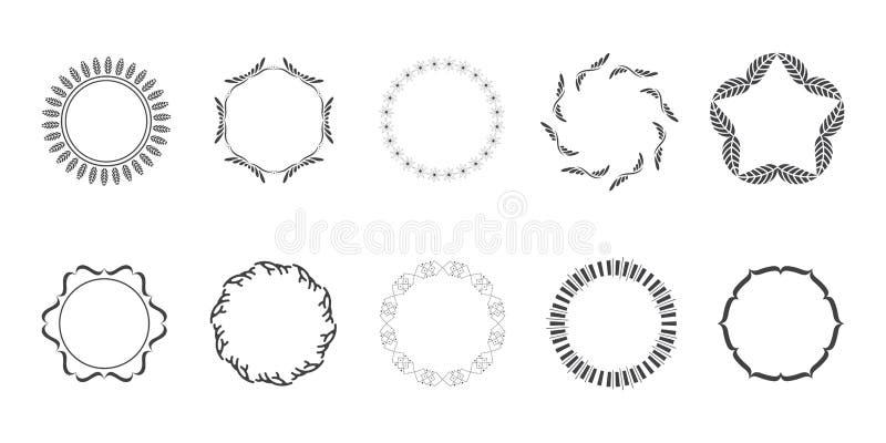 Hojas exhaustas de Logo Elements Leaf Vector Vector del vector de Art Floral Frames Wreaths Floral del clip de la mano ilustración del vector