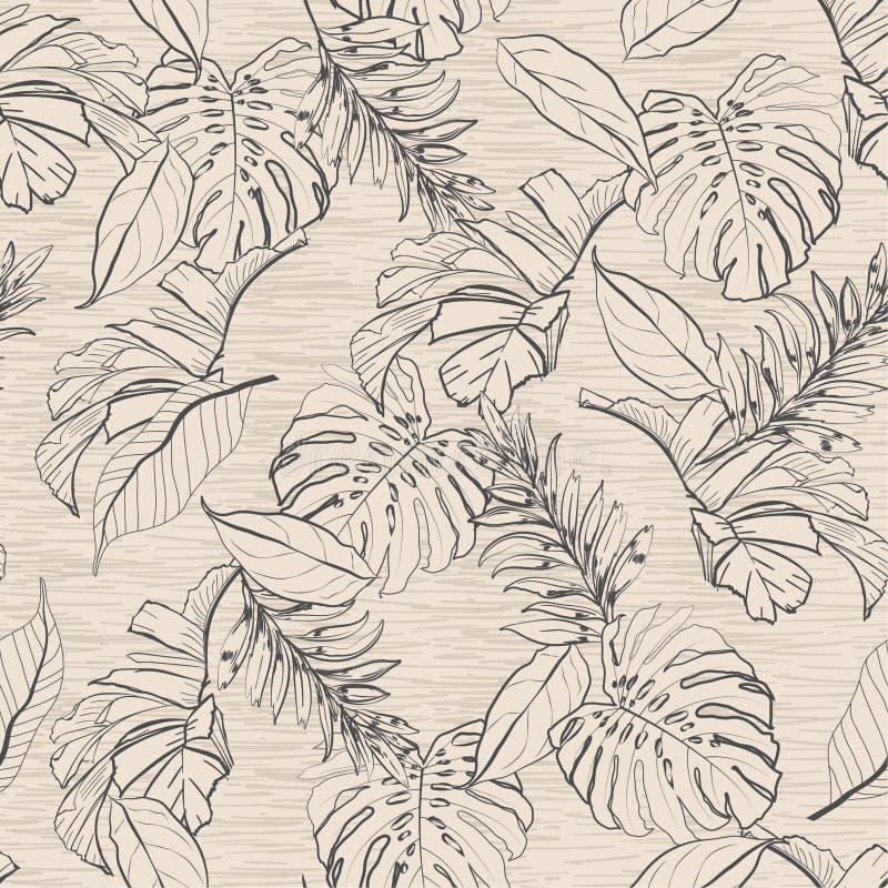 Hojas florales y tropicales modelo inconsútil, palmeras del vintage i ilustración del vector