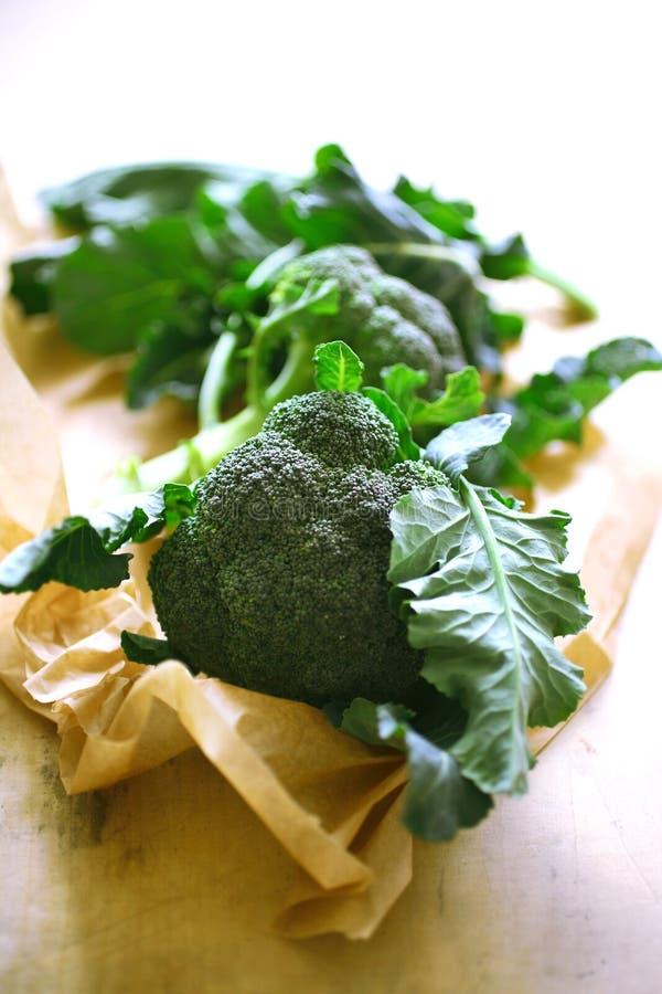 Hojas frescas del bróculi en el papel fotografía de archivo libre de regalías