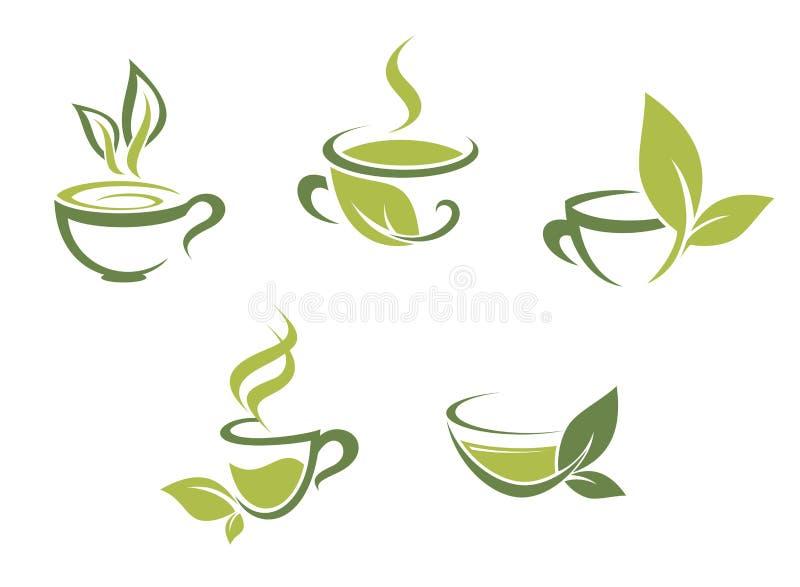 Hojas frescas del té y del verde stock de ilustración