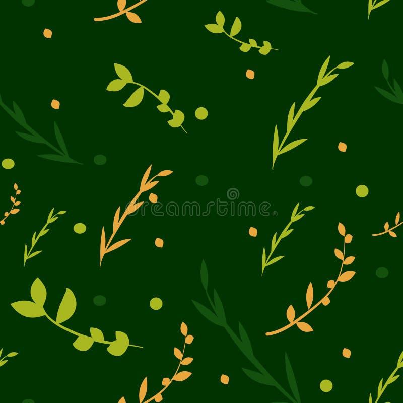 Hojas inconsútiles de la hierba del fondo en un fondo oscuro ilustración del vector